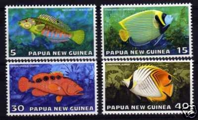 Commemorative fish stamps from New Guinea